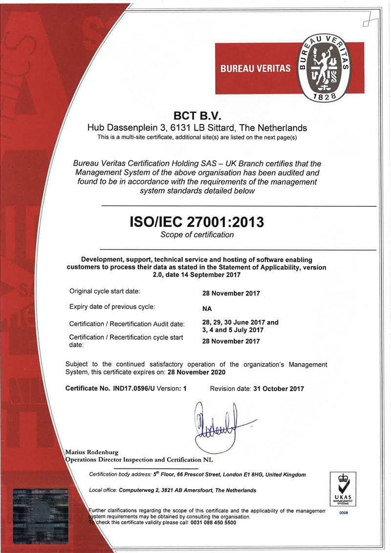 BCT - ISO 27001 Zertifikat